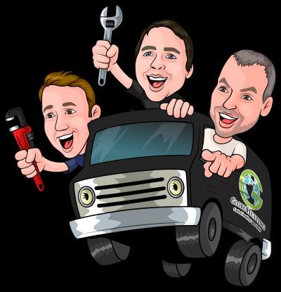 Cartoon of plumbers and van